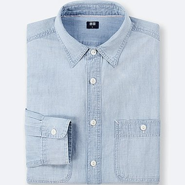 MEN CHAMBRAY WORK LONG-SLEEVE SHIRT, BLUE, medium