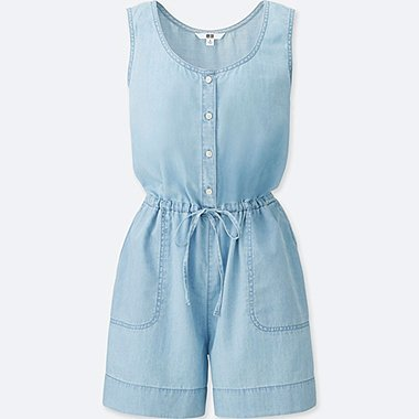 WOMEN DENIM SLEEVELESS ROMPER, BLUE, medium