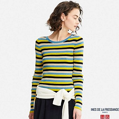 WOMEN IDLF SUPIMA COTTON RIBBED STRIPED SWEATER, BLUE, medium