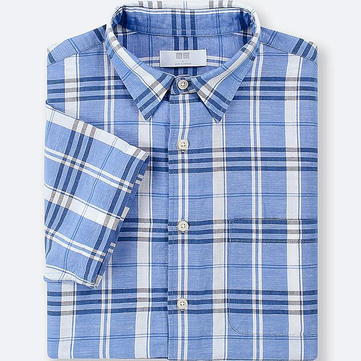 MEN LINEN COTTON CHECKED SHORT-SLEEVE SHIRT, BLUE, large