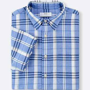 MEN LINEN COTTON CHECKED SHORT-SLEEVE SHIRT, BLUE, medium