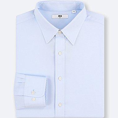 MEN EASY CARE DOBBY REGULAR-FIT LONG-SLEEVE SHIRT, BLUE, medium