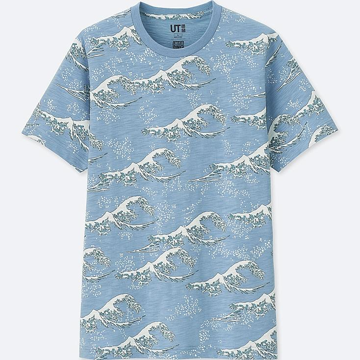 HOKUSAI BLUE SHORT-SLEEVE GRAPHIC T-SHIRT, BLUE, large