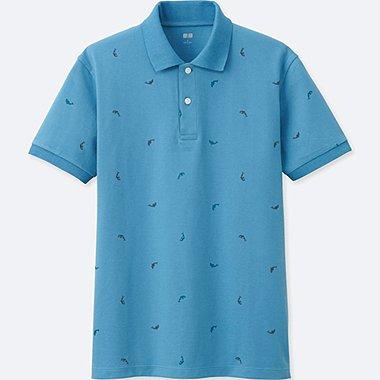 MEN DRY PIQUE PRINTED SHORT-SLEEVE POLO SHIRT, BLUE, medium