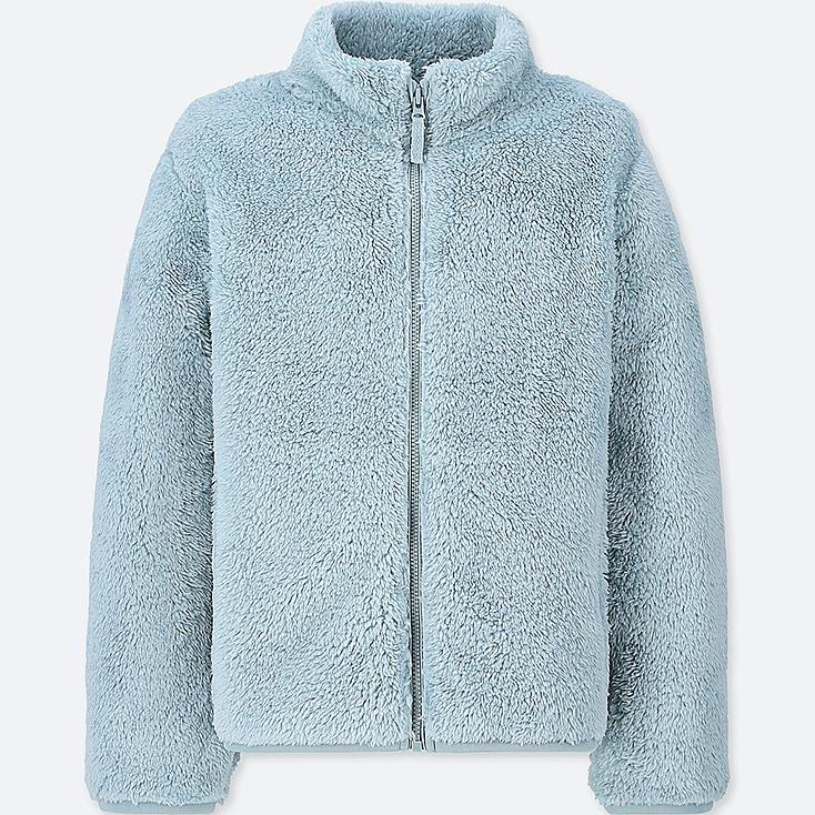 KIDS FLUFFY YARN FLEECE LONG-SLEEVE JACKET, BLUE, large