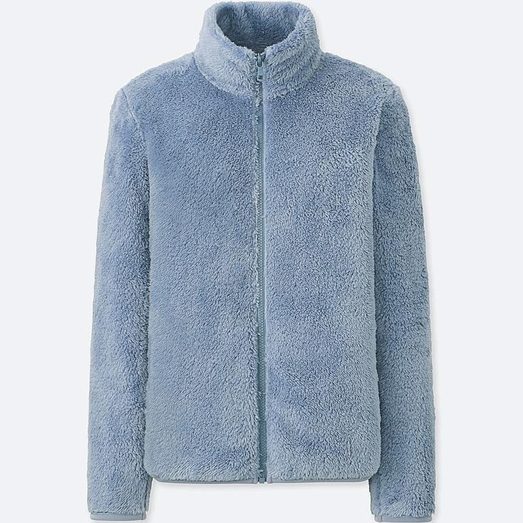 WOMEN FLUFFY YARN FLEECE FULL-ZIP JACKET, BLUE, large