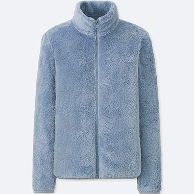 WOMEN FLUFFY YARN FLEECE FULL-ZIP JACKET, BLUE, medium