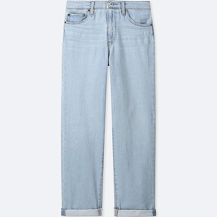 WOMEN HIGH-RISE BOYFRIEND-FIT JEANS, BLUE, large