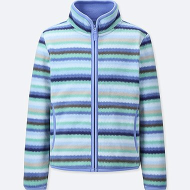 GIRLS FLEECE STRIPED ZIPPED JACKET