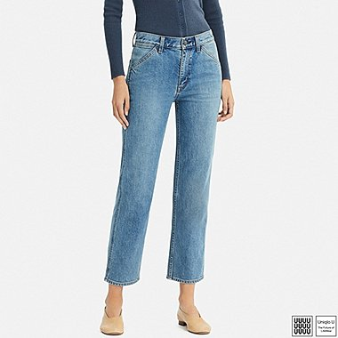 WOMEN U HIGH-RISE STRAIGHT ANKLE JEANS, BLUE, medium