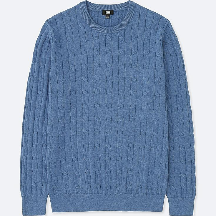 MEN COTTON CASHMERE CABLE LONG-SLEEVE SWEATER, BLUE, large