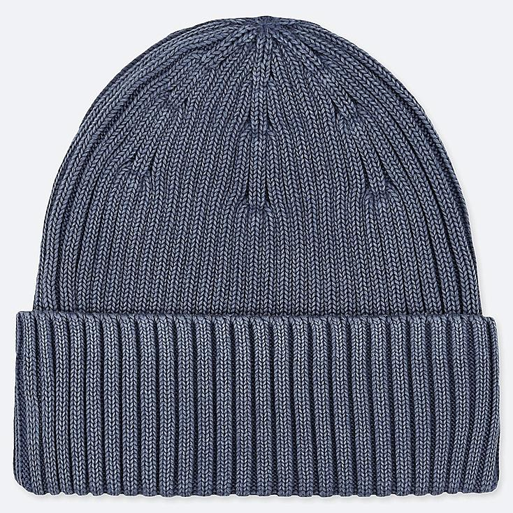 RIBBED BEANIE, BLUE, large