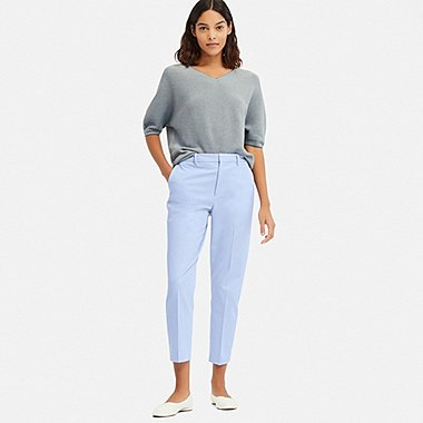 WOMEN EASY CARE STRETCH CROPPED PANTS (ONLINE EXCLUSIVE), BLUE, medium