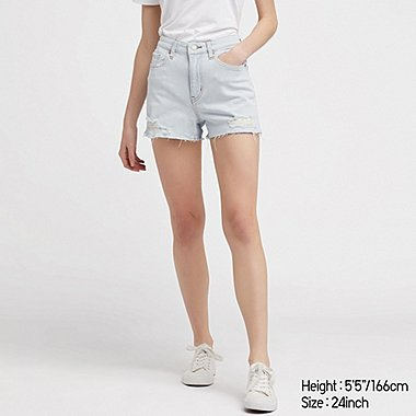06db6ac51d7862 WOMEN HIGH-RISE SLIM-FIT DENIM SHORTS