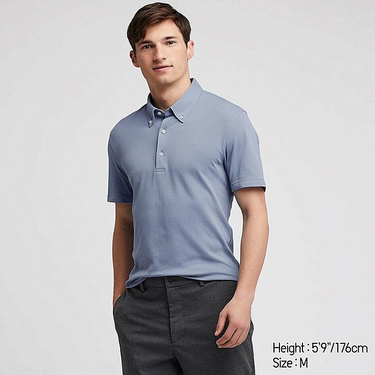 MEN AIRism SHORT-SLEEVE POLO SHIRT, BLUE, large