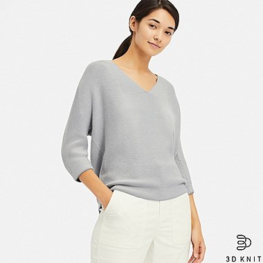WOMEN 3D COTTON COCOON V-NECK 3/4 SLEEVE SWEATER, BLUE, medium