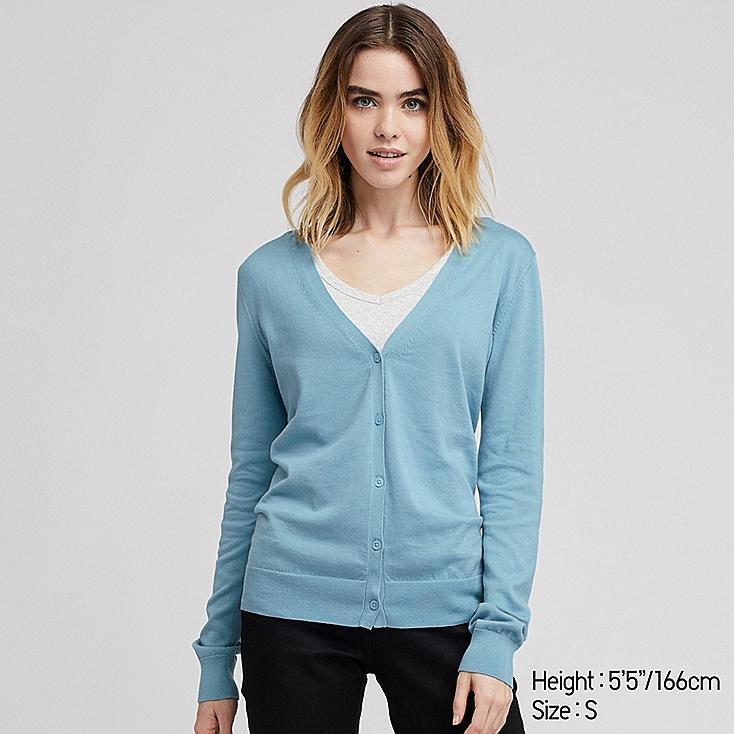 WOMEN UV CUT SUPIMA® COTTON V-NECK CARDIGAN, BLUE, large