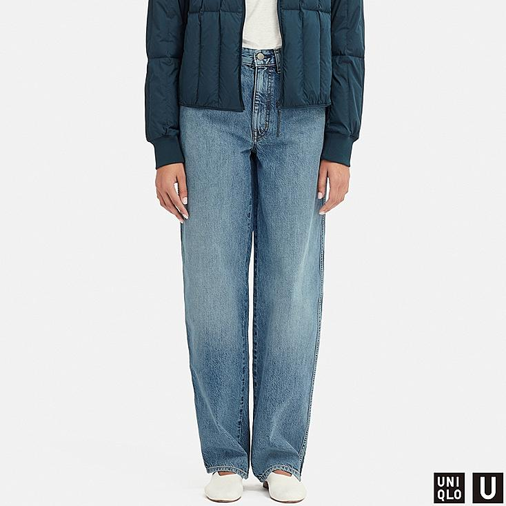 WOMEN U HIGH-RISE WIDE STRAIGHT JEANS, BLUE, large