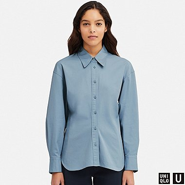 WOMEN U STRETCH LONG-SLEEVE SHIRT, BLUE, medium