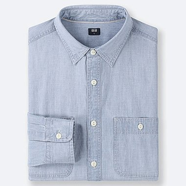 MEN CHAMBRAY WORK LONG-SLEEVE SHIRT (ONLINE EXCLUSIVE), BLUE, medium