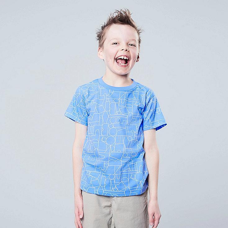 KIDS SUPER GEOMETRIC DUSEN DUSEN UT (SHORT-SLEEVE GRAPHIC T-SHIRT), BLUE, large