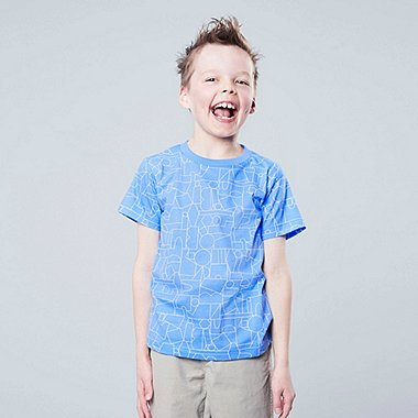 KIDS SUPER GEOMETRIC DUSEN DUSEN SHORT-SLEEVE T-SHIRT, BLUE, medium