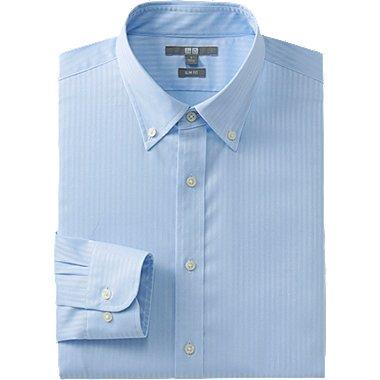 MEN EASY CARE STRETCH SLIM FIT DOBBY LONG SLEEVE SHIRT, BLUE, medium