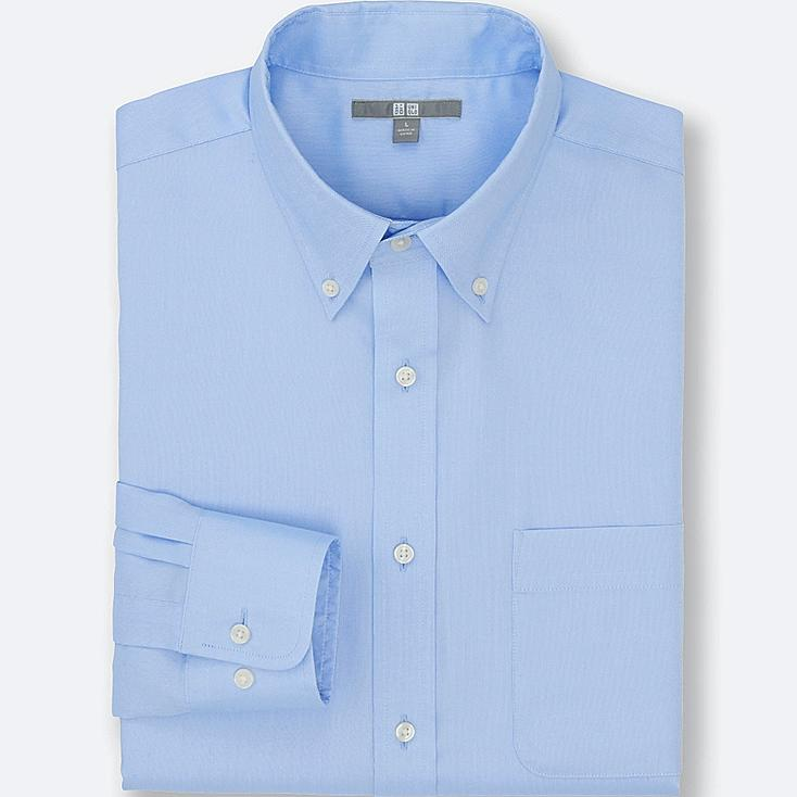 MEN EASY CARE OXFORD LONG SLEEVE SHIRT, BLUE, large