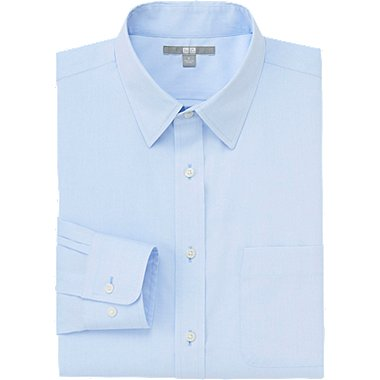 MEN EASY CARE BROADCLOTH LONG SLEEVE SHIRT, BLUE, medium