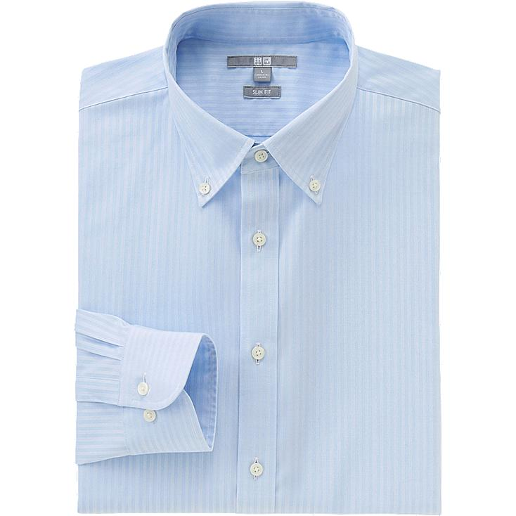 MEN EASY CARE STRETCH SLIM FIT DOBBY LONG SLEEVE SHIRT, BLUE, large