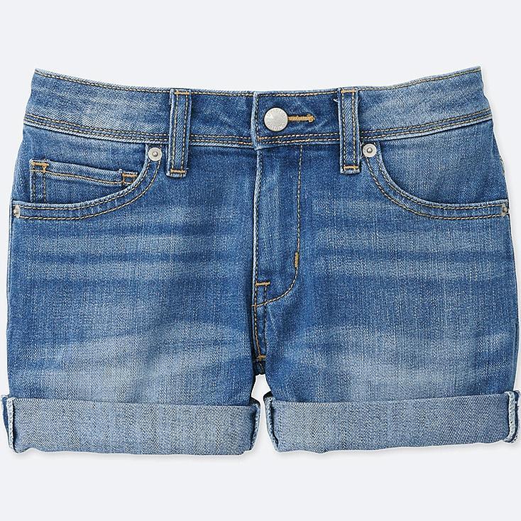 GIRLS Denim Shorts, BLUE, large