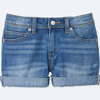 GIRLS Denim Shorts, BLUE, medium