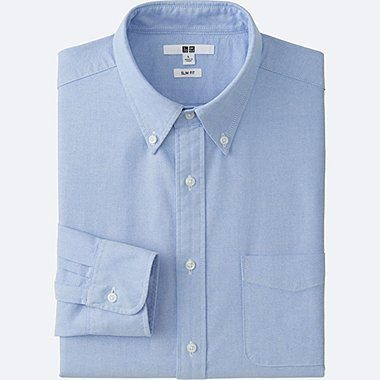 Men Oxford Slim-Fit Long Sleeve Shirt, BLUE, medium