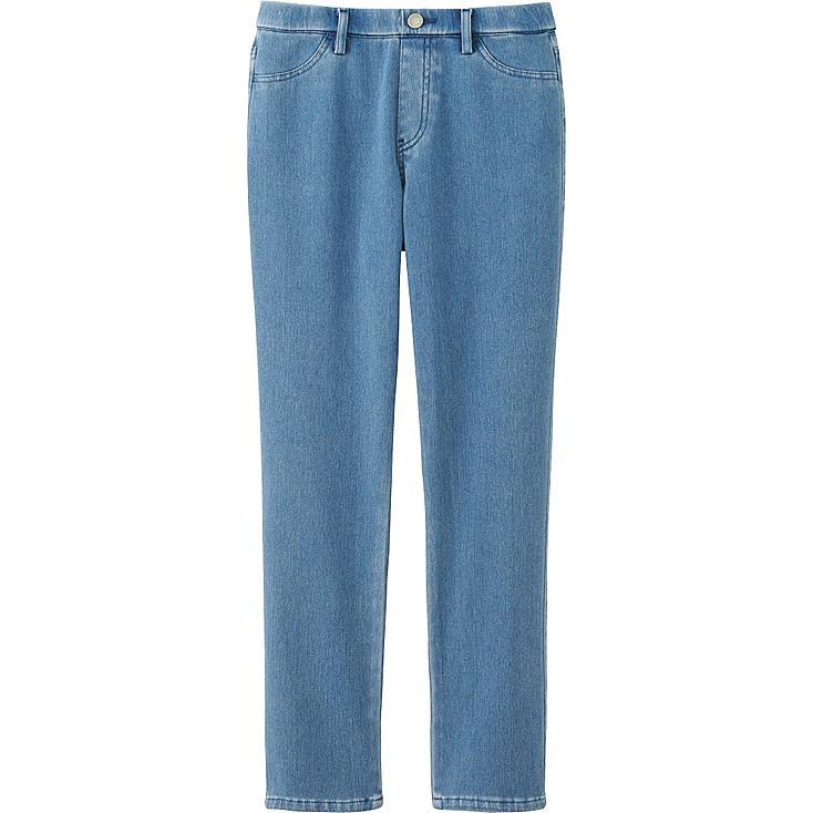 WOMEN DENIM CROPPED LEGGING PANTS, BLUE, large