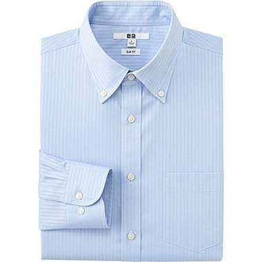 MENS EASY CARE SLIM-FIT DRESS SHIRT, BLUE, medium