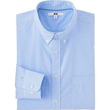 Mens Extra Fine Cotton Broadcloth Checked Dress Shirt, BLUE, medium