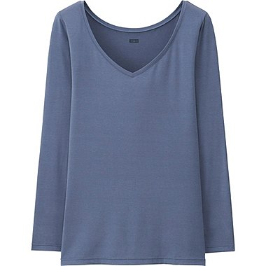 WOMEN HEATTECH TOP, BLUE, medium