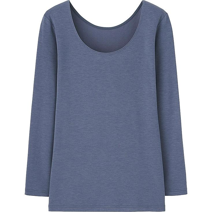 Women HEATTECH Extra Warm Scoop Neck T-Shirt, BLUE, large