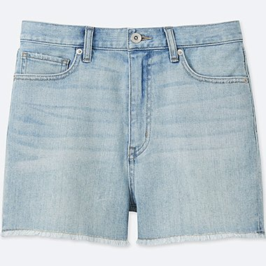 WOMEN HIGH RISE DENIM SHORTS, BLUE, medium