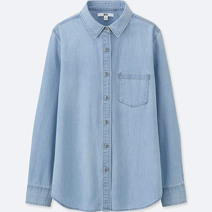 WOMEN Denim Long Sleeve Shirt