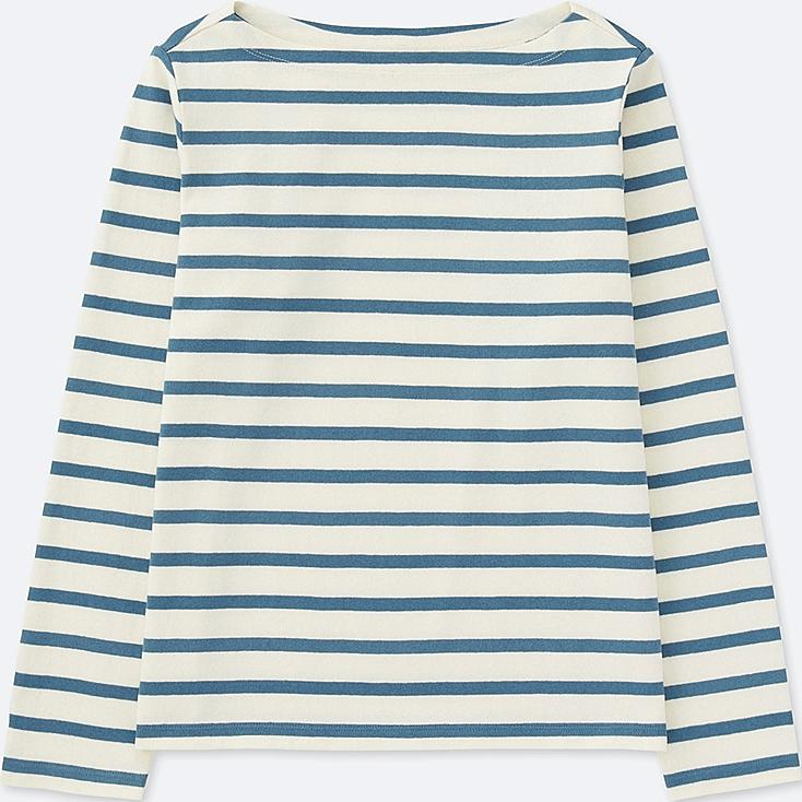 WOMEN STRIPED BOAT NECK LONG SLEEVE T-SHIRT | UNIQLO US