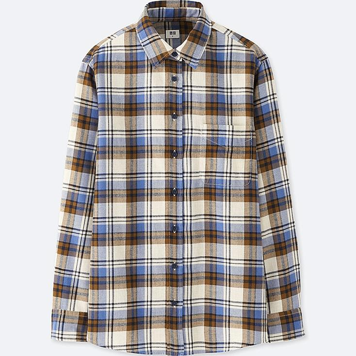 WOMEN FLANNEL CHECK LONG SLEEVE SHIRT, BLUE, large