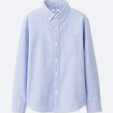 KIDS OXFORD LONG SLEEVE SHIRT, BLUE, medium