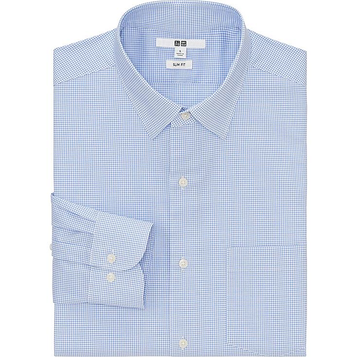 MEN EASY CARE SLIM FIT CHECKED LONG SLEEVE SHIRT, BLUE, large