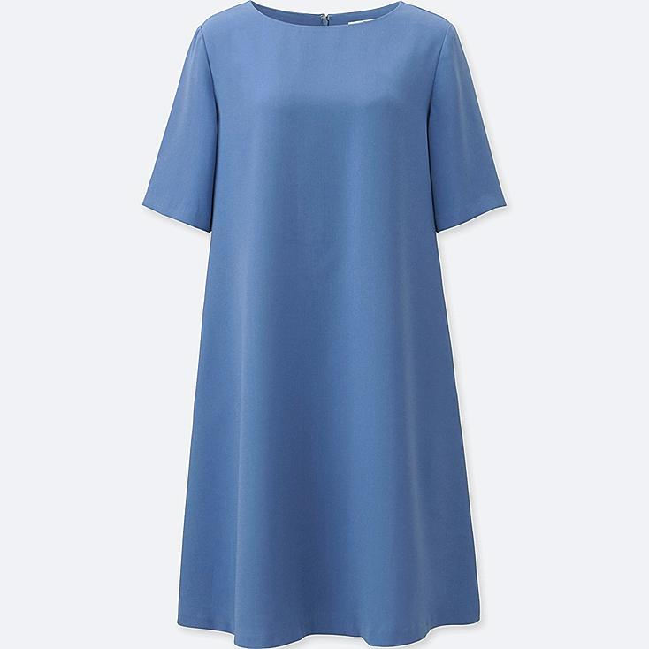 WOMEN CREPE SHORT-SLEEVE DRESS, BLUE, large