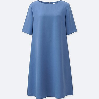 WOMEN Crepe Short Sleeve Dress