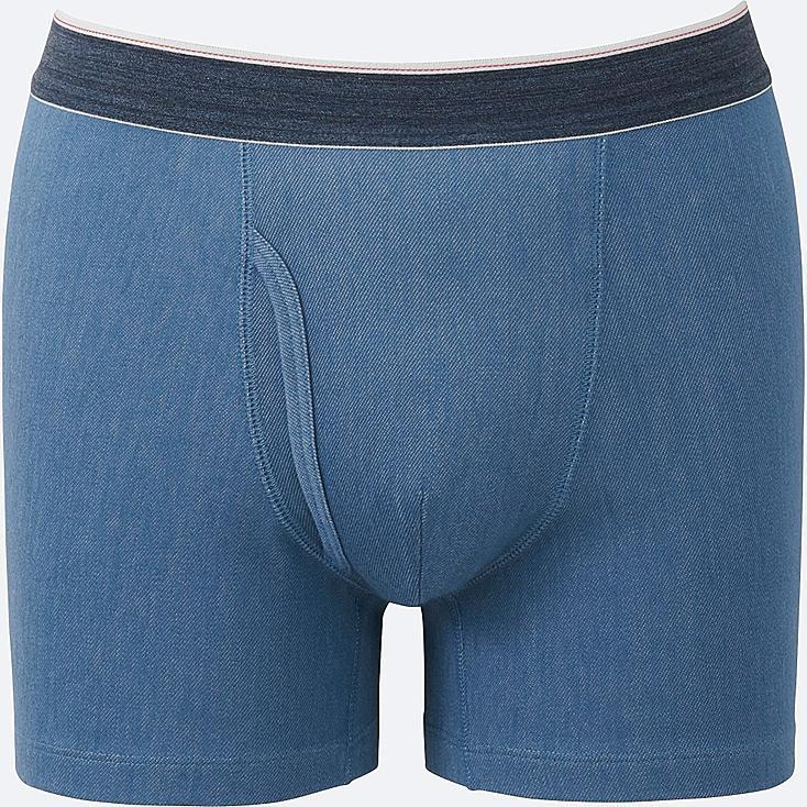 MEN Supima® COTTON BOXER BRIEFS, BLUE, large