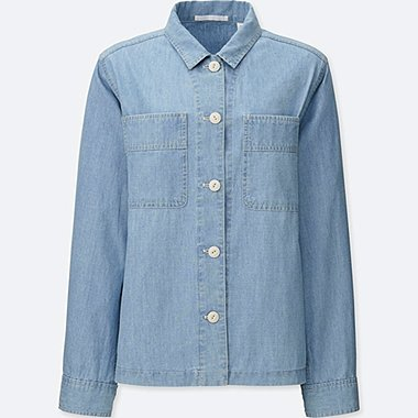 WOMEN Chambray Shirt Jacket