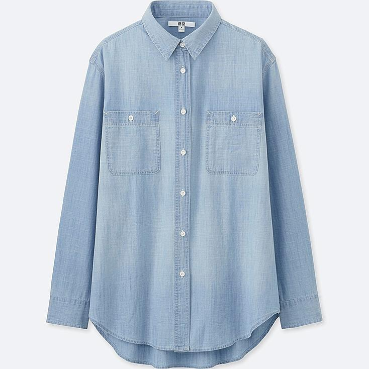 Women chambray long sleeve shirt uniqlo us for Chambray shirt women
