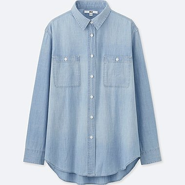 WOMEN Chambray Long Sleeve Shirt